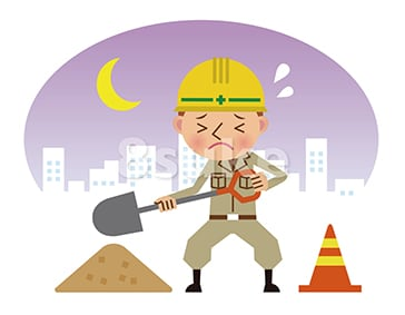 イラスト素材:シャベルを持って働く作業員/夜間背景・ネガティブ(ベクター・JPG)