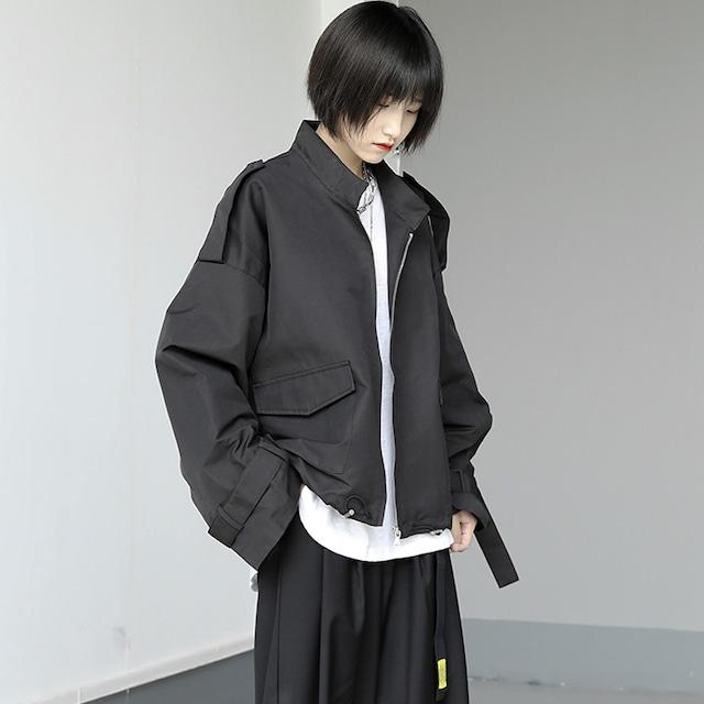 【KEN STUDIOシリーズ】★ジャケット★ アウター スタンドネック ゆったり ショート丈 ブラック 黒い