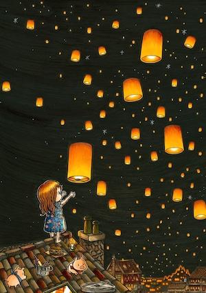 SHU matsukura  スピリト村の熱気球 A1サイズポスター(フレームなし) 送料別対象商品【着払い】