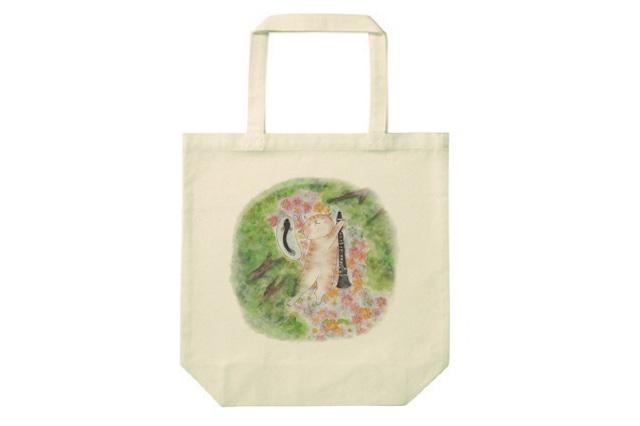 クラリネット猫のトートバッグ(ウナギ)