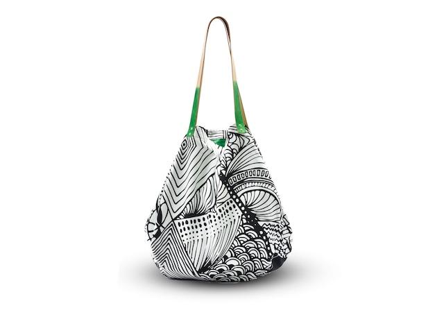 monmecciバッグ (革持手) 大きな幾何学模様バッグ