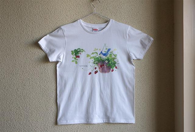 コットン100 Tシャツ 小鳥と花