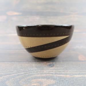 小石原焼 4寸多用鉢 トビカンナ 茶黒渦 鶴見窯