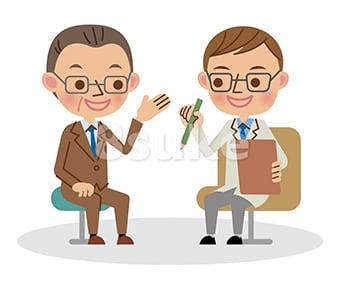 イラスト素材:医者と会話する中年のビジネスマン(ベクター・JPG)