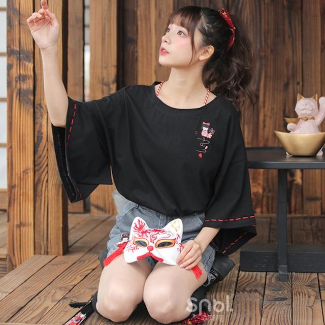 【森女部落シリーズ】★チャイナ風Tシャツ★ トップス 刺繍入り フリンジ ゆったり コットン ブラック 黒い