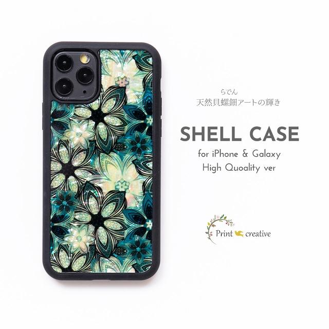 【iPhone13対応】天然貝シェル★フラワーパターン(iPhone/Galaxyハイクオリティケース)|螺鈿アート