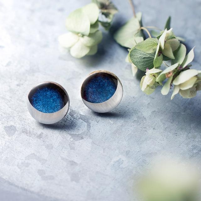 陶器 藍色 丸 ピアス イヤリング 三日月 シルバー 美濃焼