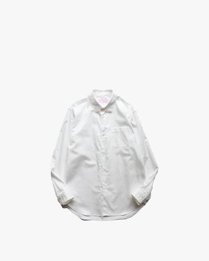 """EACHTIME.  """"Cotton Satin Round Collar Shirt""""    White"""
