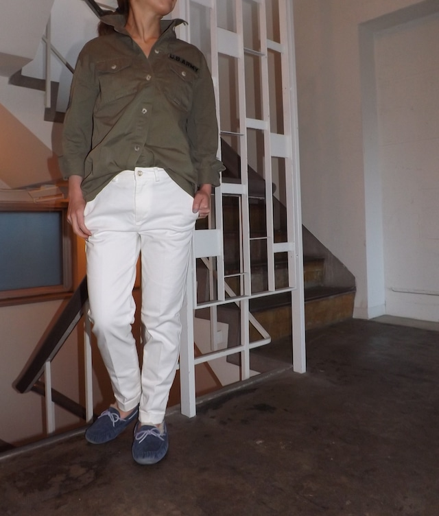 Women ホワイトカツラギトラウザー [ストレッチ.ホワイトジーンズ.白パンツ,年間素材]