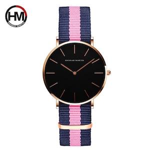 シンプルジャパンクォーツムーブメントウォッチレザーストラップナイロン時計女性アナログ防水腕時計CH36-F7