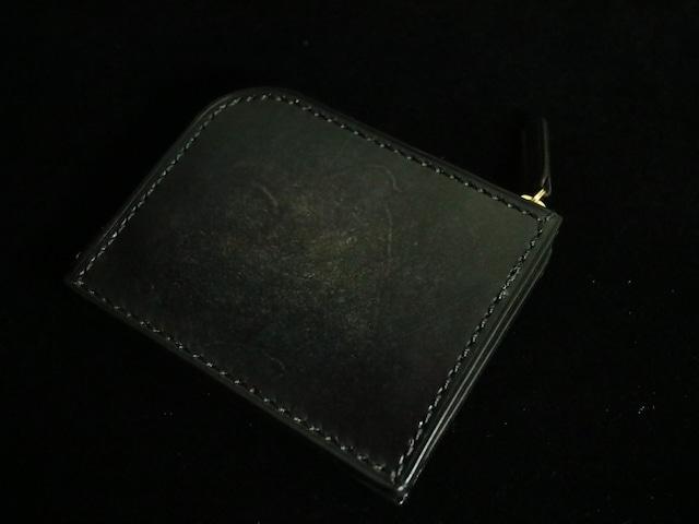 L型ファスナー財布【手染め ブラックアンティーク】