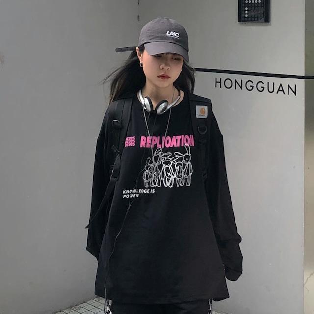 【トップス】ファッションルーズプリントコットンキャンパス合わせやすいTシャツ52971288
