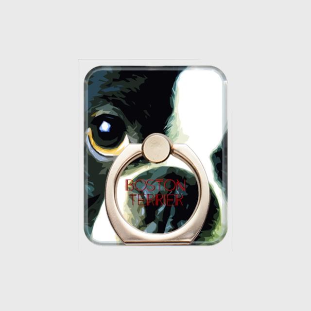 ボストンテリア おしゃれな犬スマホリング【IMPACT -color- 】