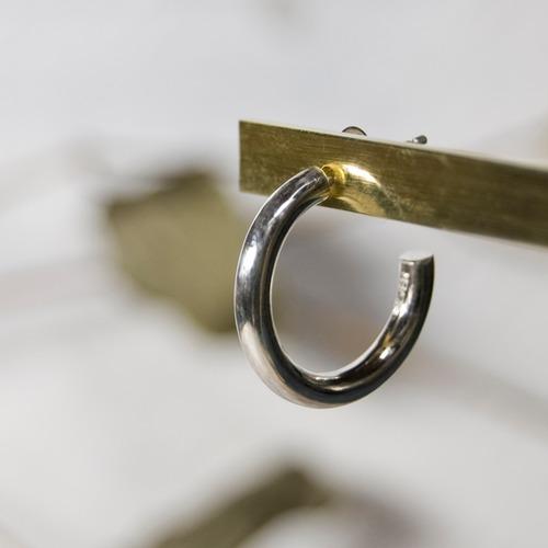 シルバーラウンドプレーンフープピアス 3.0mm幅 鏡面|WKS ROUND PLANE HOOP PIERCED EARRING 3.0 sv mirror|FA-231
