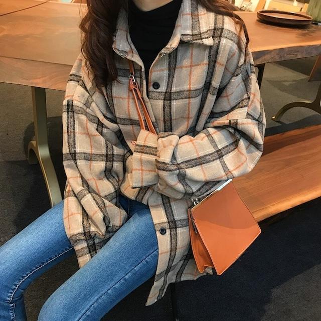 バルーン袖チェックシャツ