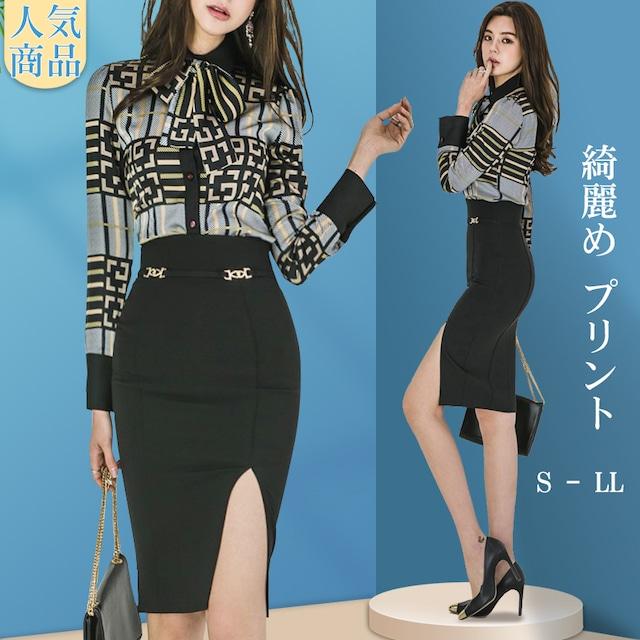 ✿人気商品✿セットアップ OL/フォーマル 綺麗め プリント 長袖  シャツ+スカート S M L LL