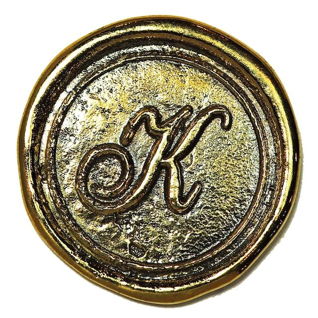 シーリングイニシャル LL 〈K〉 ブラス / コンチョボタン