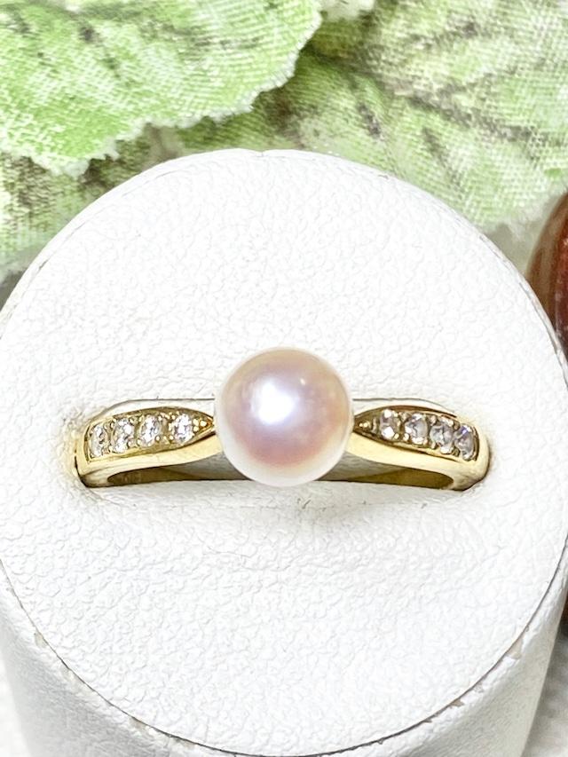 【3日以内返品可(※カード/キャリア決済の場合)】真珠 約6.4mm / ダイヤモンド K18 リング★ミキモト【リフレッシュメント(新品仕上げ・補修・洗浄等済)】