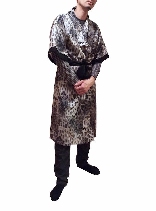 Long Silk Robe Komon For Men ロングシルクローブ小紋柄 メンズ