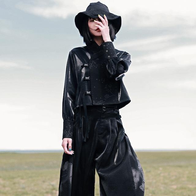 【大青龍肆シリーズ】★チャイナ風トップス★ シャツ 切り替え 独特なデザイン ブラック 黒い かっこいい