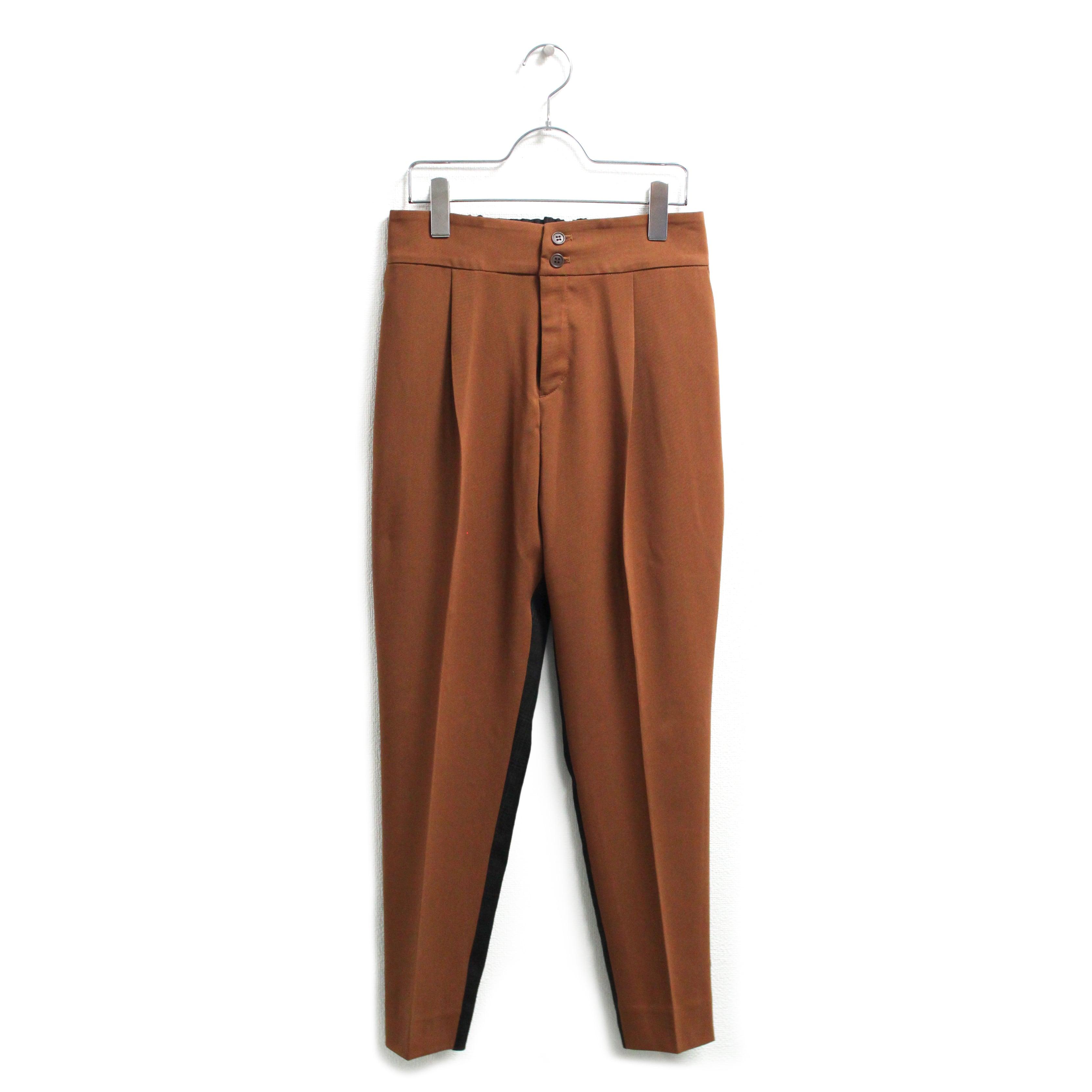 ツイル×グレンチェック柄異素材パンツ