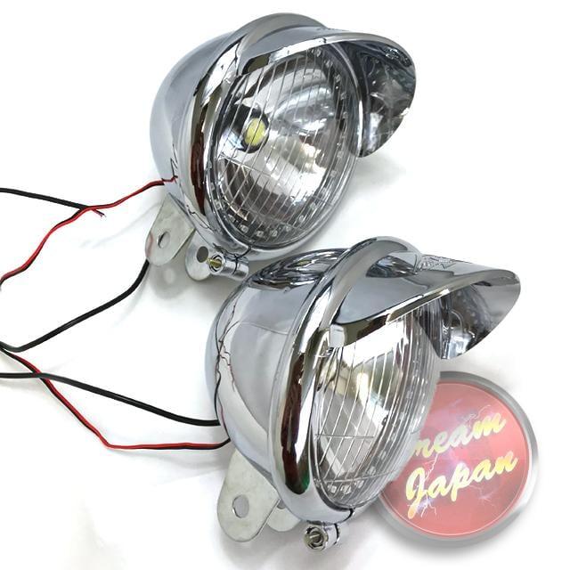 LEDフォグランプ ホワイト イカリング付き 交換など 本体レンズのみ/左右2個セット/樹脂製 軽量/アメリカン/a328