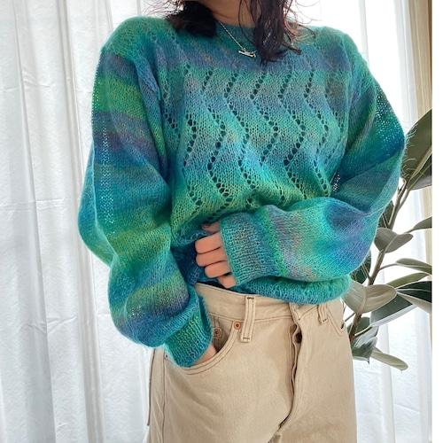 Gradation sukashi knit