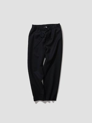 ATON SUPER 160'S DOUBLE SAXONY TAPERED EASY PANTS BLACK PRAGIW0901
