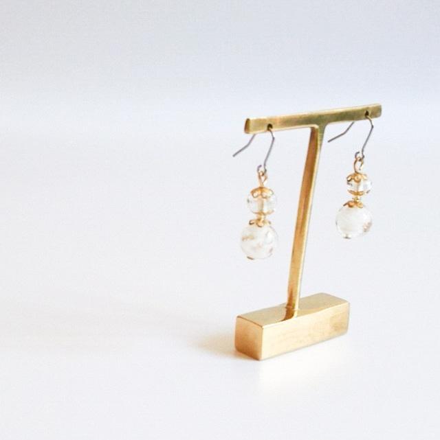 【イタリア製】ヴェネチアングラスのピアス(白)