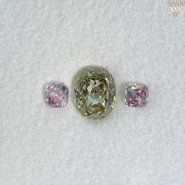 合計  0.65 ct 天然 カラー ダイヤモンド 3 ピース GIA  1 点 付 マルチスタイル / カラー FANCY DIAMOND 【DEF GIA MULTI】