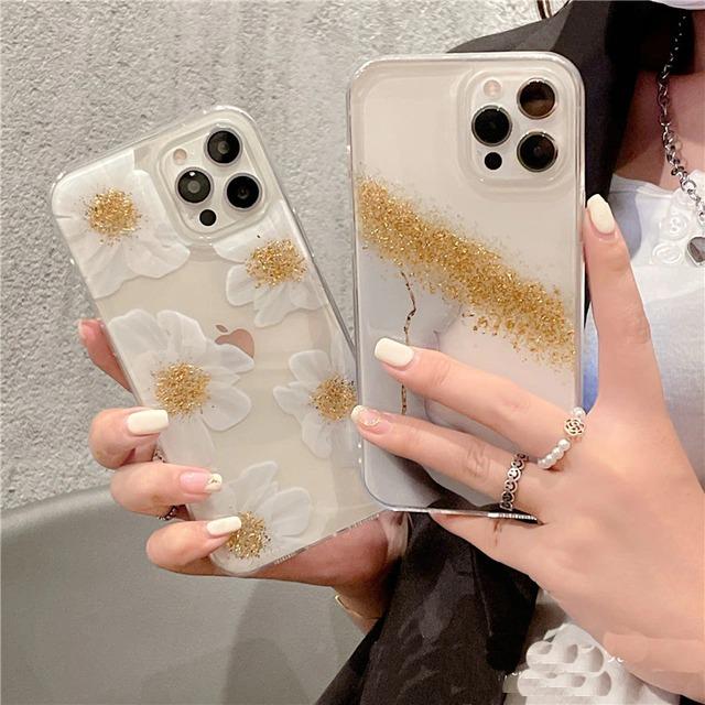 Gold glitter daisy iphone case
