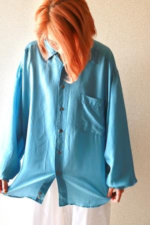 Vintage blue sky silk shirt