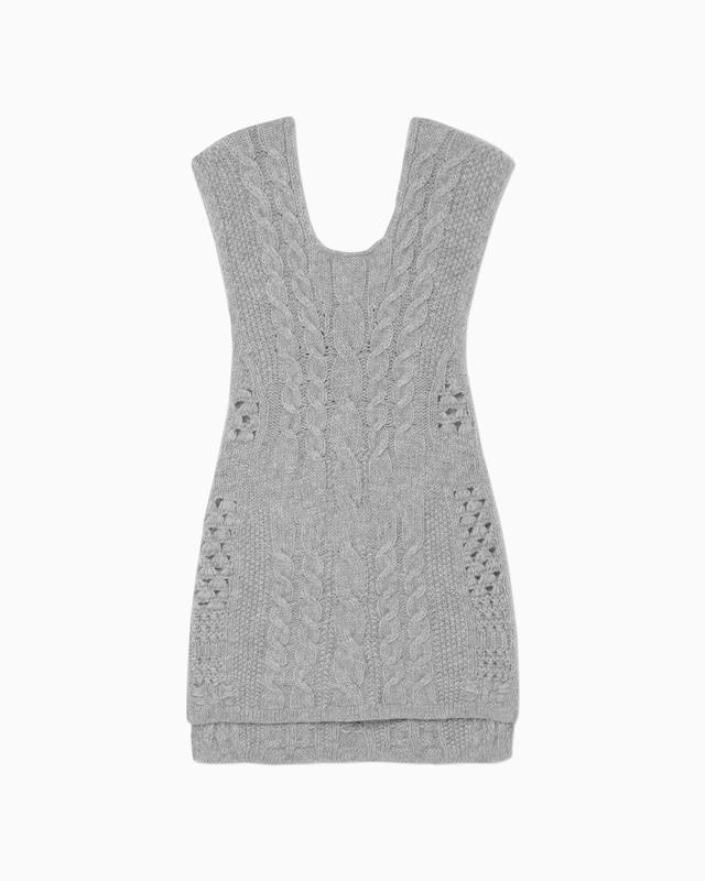 【Mame Kurogouchi】Multi-Pattern Cable Sleeveless Knitted Vest - grey MM21FW-KN036