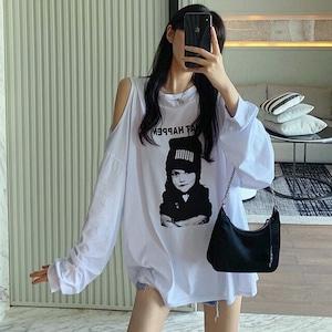 【トップス】長袖カジュアルプリントシンプル長袖透かし彫りTシャツ42911735