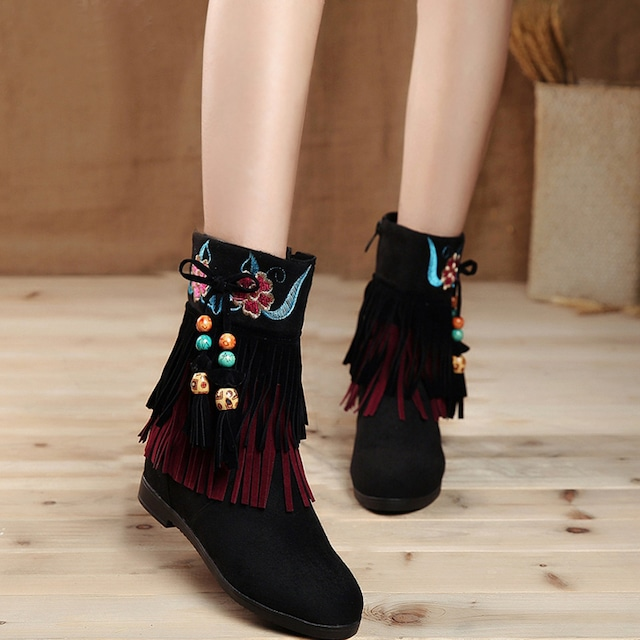 【天賜繡シリーズ】★刺繍靴★ ブーツ サイズ34-40 チャイナ風靴 シューズ フリンジ 可愛い レトロ