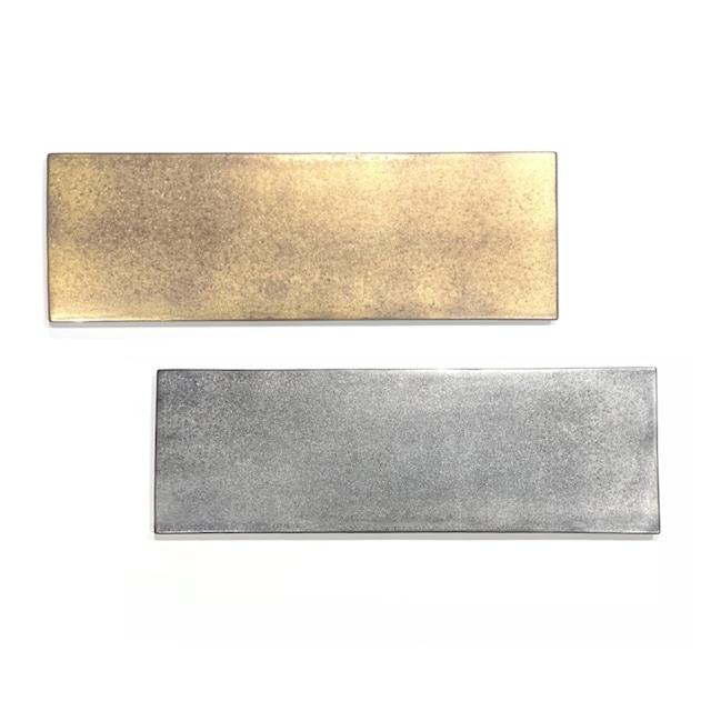 金・銀 黒ゆず塗  長角プレート37cm