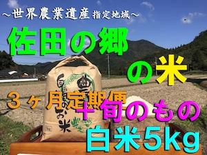 【令和3年新米】佐田の郷の米(3ヶ月定期便<白米5kg/玄米5.5kg+旬のもの>×4回)【慣行栽培米】