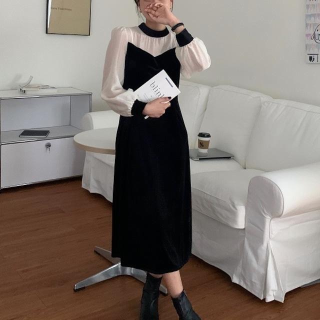 レディース 韓国 ファッション ワンピース ロングワンピース  長袖  透け感 フェミニン 大人 上品 秋 冬