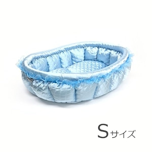 ふーじこちゃんママ手作り ぽんぽんベッド(サテンライトブルー)Sサイズ 【PB7-025S】