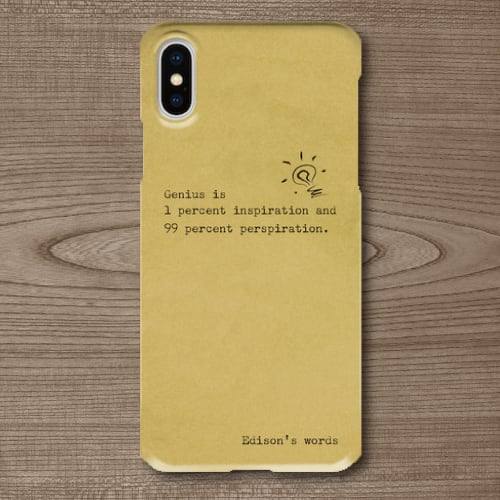 名言・格言/タイプライター文字/エジソン/天才/ひらめき/努力/古い手紙調/iPhoneスマホケース(ハードケース)