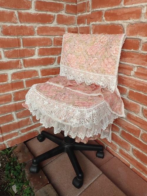 フリルロココ変身椅子カバーキット 高級ジャガード薔薇柄