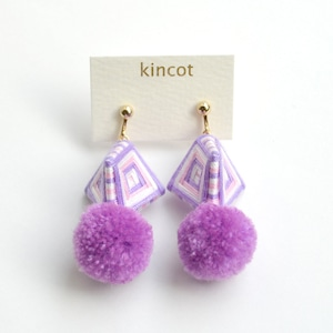 kincot 糸巻きポンポンイヤリング(パープル)