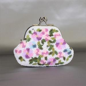 がまぐち財布111白パープル柄ビーズ刺繍