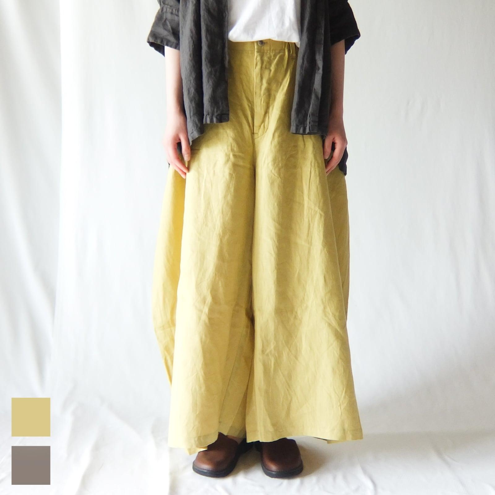 Vlas Blomme - Soft Linen カーブパンツ - Yellow / Mocha
