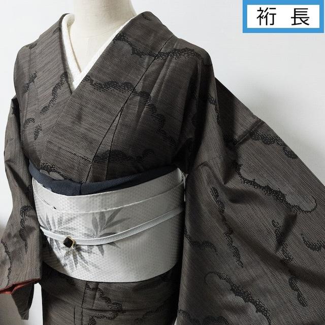 【裄長】やまと謹製 つるりと軽い紬 袷 雲形織出し 焦げ茶×黒 丈164 裄68