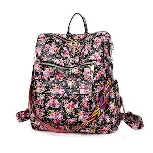レディースリュック 花柄 ファッション感 たっぷりバック 通学バッグ 旅行リュックサック 肩掛けバッグ カジュアルショルダーバッグ PUレザー 5805