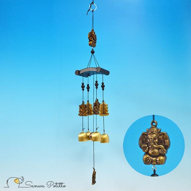 ガネーシャの風鈴 ドアベル チャイム N18114 吊り下げタイプ ゴールド 涼感 冷感 癒し プレゼント ギフト 贈り物
