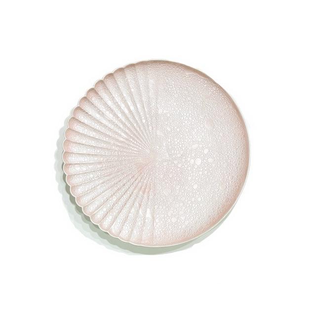 泡化粧 ピーチパール 片菊彫16cmプレート