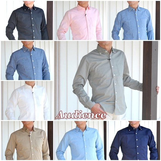 AUDIENCE オーディエンス メンズ シャツ 長袖シャツ ボタンダウンシャツ ワイドスプレット オックスフォード ダンガリー バーバリー AUD1656