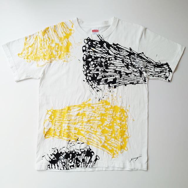 F's line【 藤井清秀  Tシャツアート】えのき M ブラック&イエロー